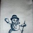 Embroidered Snowman Toile Kitchen Towel