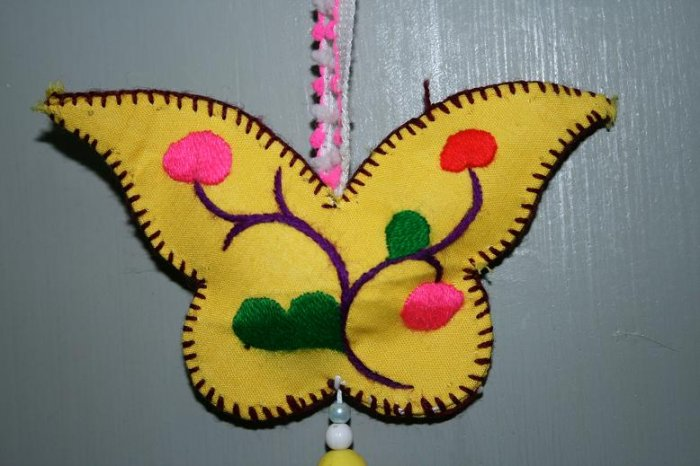 Hand-embroidered Butterfly-shaped Pendant of Chinese Ethnic Minority