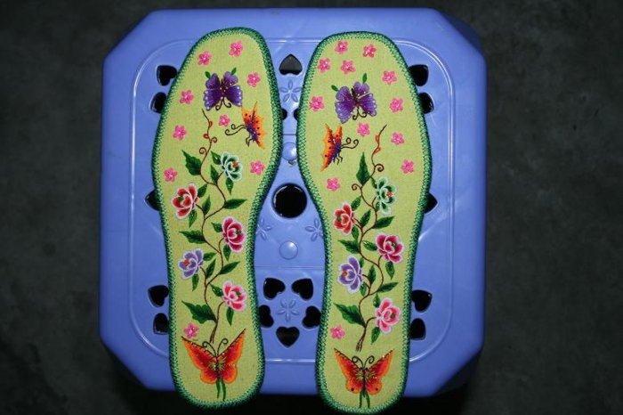 Hand-embroidered Shoe Insoles of Chinese Ethnic Minority (Yellow)