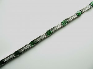 Diamond Bracelet with Tsavorites