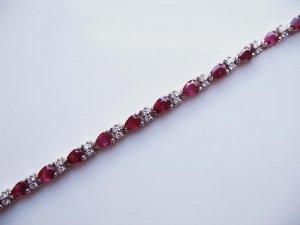 Bracelet with Pear Shaped Rubies and Diamonds