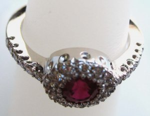 Ruby Ring with Diamond Setting