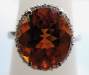 Large Oval Citrin Ring