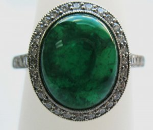 Large Cabouchon Emerald Ring with Diamonds