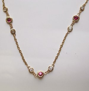 Gold Chain with Rubies and Diamonds