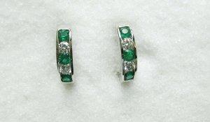 Emerald and Diamond Ear Hugs