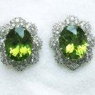 Peridot Earrings with Diamonds