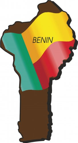 Benin Country Map Flag Wall Decal