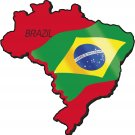 Brazil Country Map Flag Wall Decal