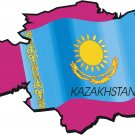 Kazakhstan Country Map Flag Wall Decal
