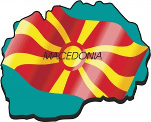 Macedonia Country Map Flag Wall Decal