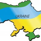 Ukraine Country Map Flag Wall Decal