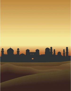 Ancient Skyline Vector Art on Canvas