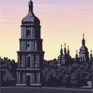 Church #2 Sunset Vector Art on Canvas