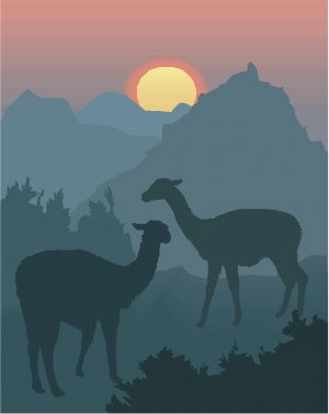 Llamas Sunset Vector Art on Canvas