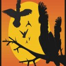 Parrots Sunset Vector Art on Canvas