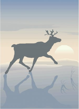 Reindeer Sunset Vector Art on Canvas