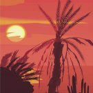 South Pacific Sunset Vector Art on Canvas