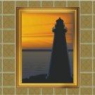 Lighthouse Sunset Vector Art on Canvas