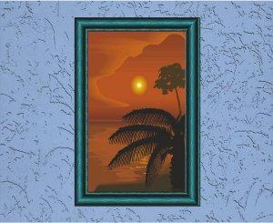 Island Orange Sunset Vector Art on Canvas
