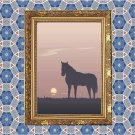 Horse Sunset Vector Art on Canvas