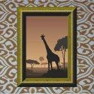 African Giraffe Sunset Vector Art on Canvas