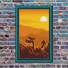 Great Wall of China Sunset Vector Art on Canvas