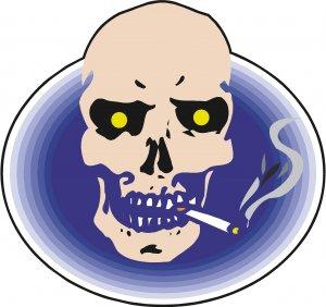 Smoking Skull Yellow Eyes Wall Decal