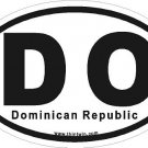 Domincan Republic Oval Car Sticker