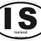 Iceland Oval Car Sticker