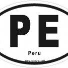 Peru Oval Car Sticker