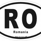 Romania Oval Car Sticker