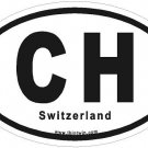 Switzerland Oval Car Sticker