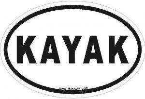 Kayak Oval Car Sticker