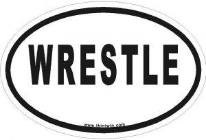 Wrestle Oval Car Sticker