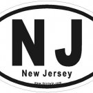 New Jersey Oval Car Sticker