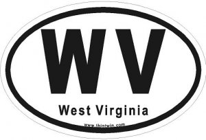 West Virginia Oval Car Sticker