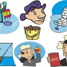 Fishing Cartoon Wall Decal Assortment Packs
