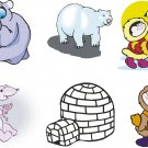 Polar Bears Cartoon Wall Decal Assortment Packs