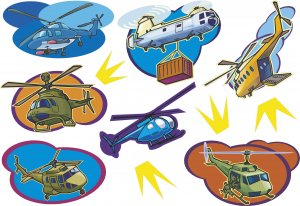 Helicopter Wall Decal Assortment Packs