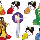 Japanese Geishas Wall Decal Assortment Packs