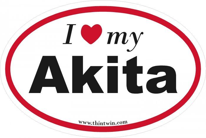 Akita Oval Car Sticker