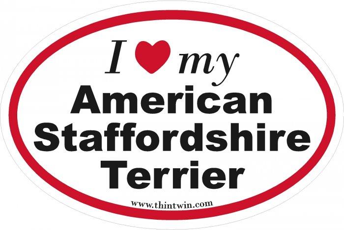 American Staffordshire Terrier Oval Car Sticker