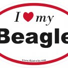 Beagle Oval Car Sticker