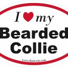 Bearded Collie Oval Car Sticker