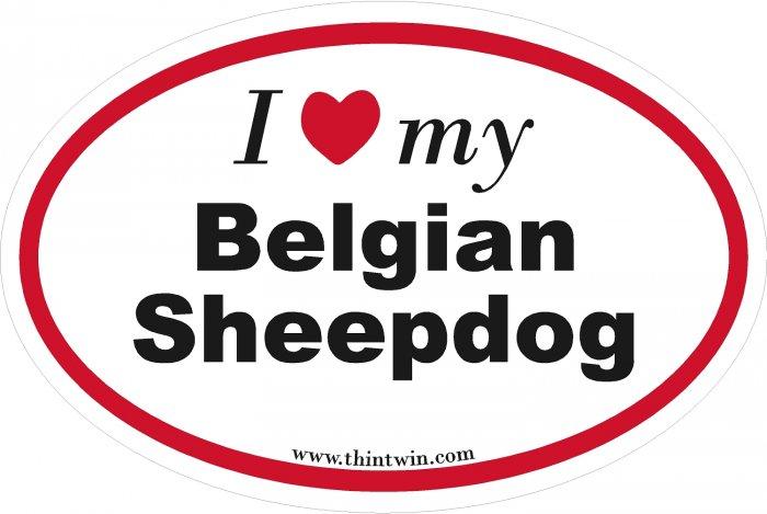 Belgian Sheepdog Oval Car Sticker