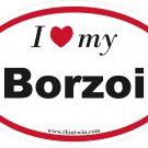 Borzoi Oval Car Sticker