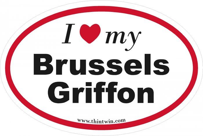 Brussels Griffon Oval Car Sticker