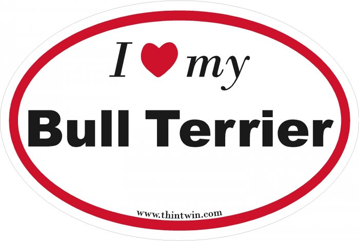 Bull Terrier Oval Car Sticker