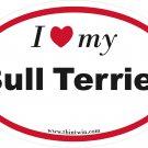 Bull Terrier Oval Car Sticker